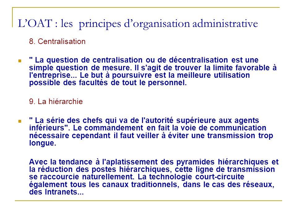 L'OAT : les principes d'organisation administrative