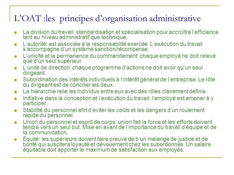 L'OAT :les principes d'organisation administrative