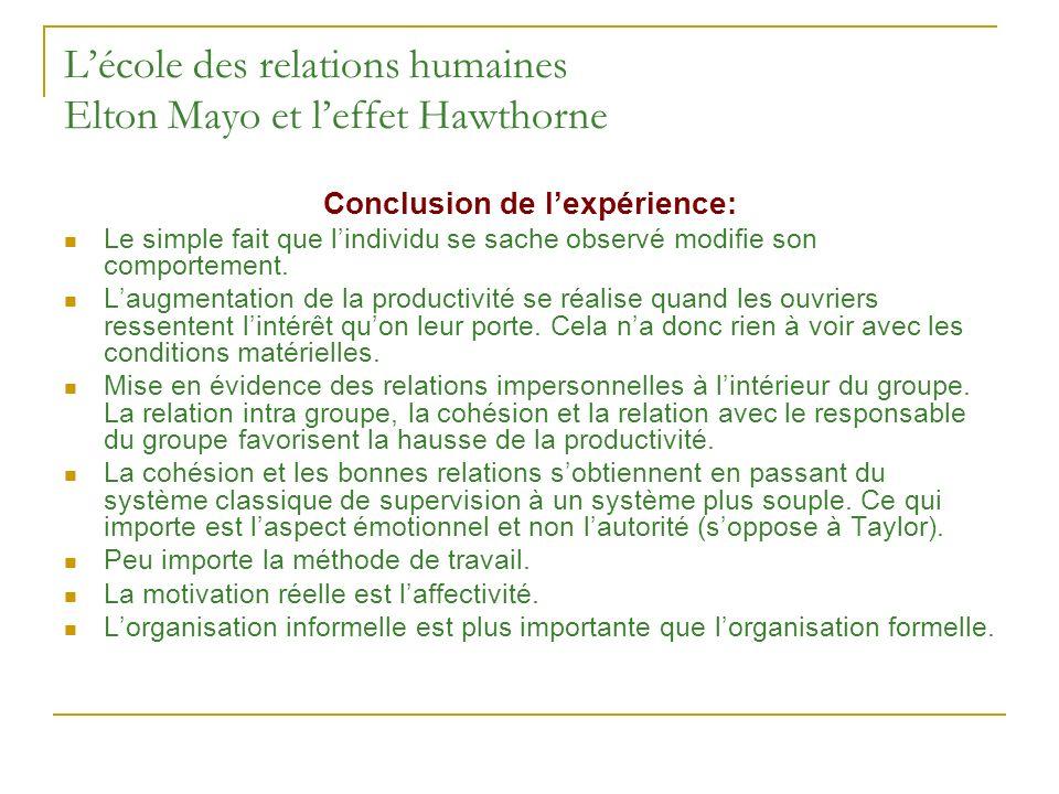 L'école des relations humaines Elton Mayo et l'effet Hawthorne