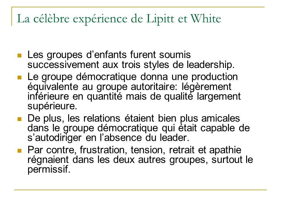 La célèbre expérience de Lipitt et White
