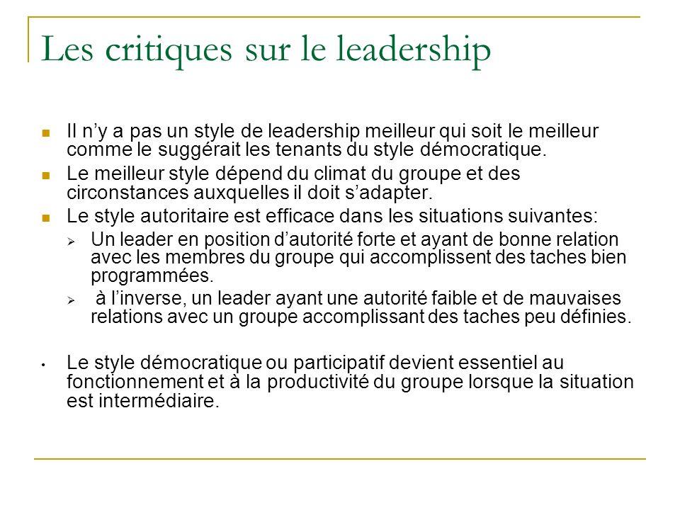 Les critiques sur le leadership