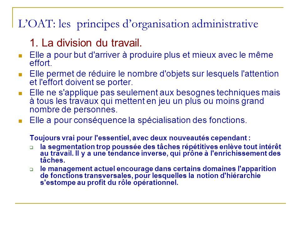 L'OAT: les principes d'organisation administrative