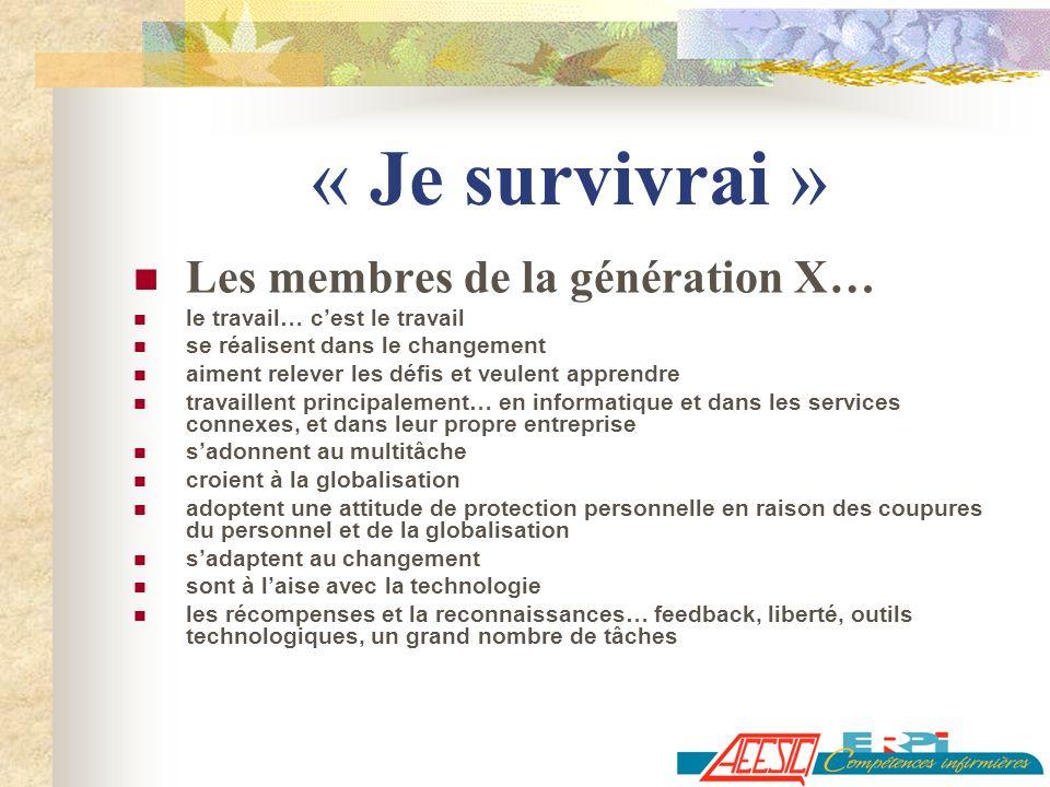 « Je survivrai » Les membres de la génération X…