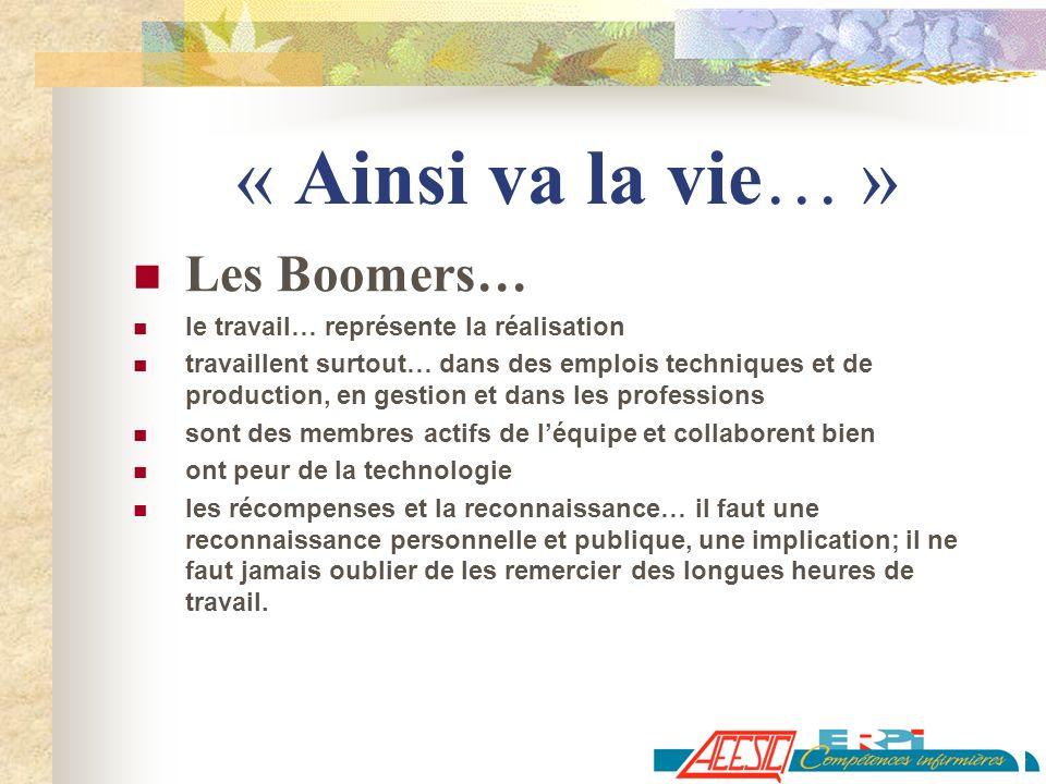 « Ainsi va la vie… » Les Boomers…