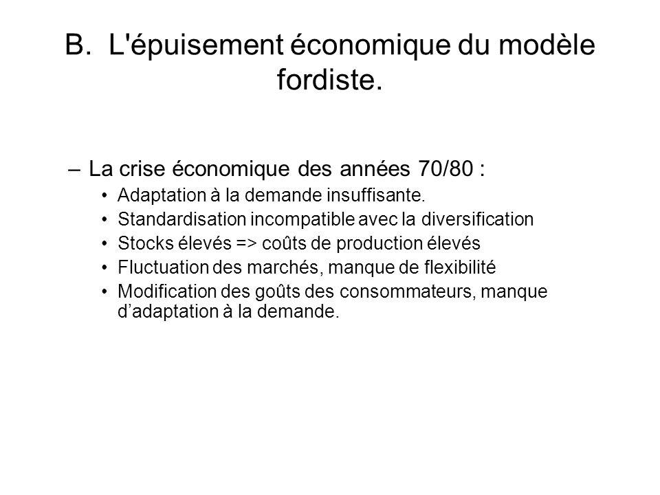 B. L épuisement économique du modèle fordiste.