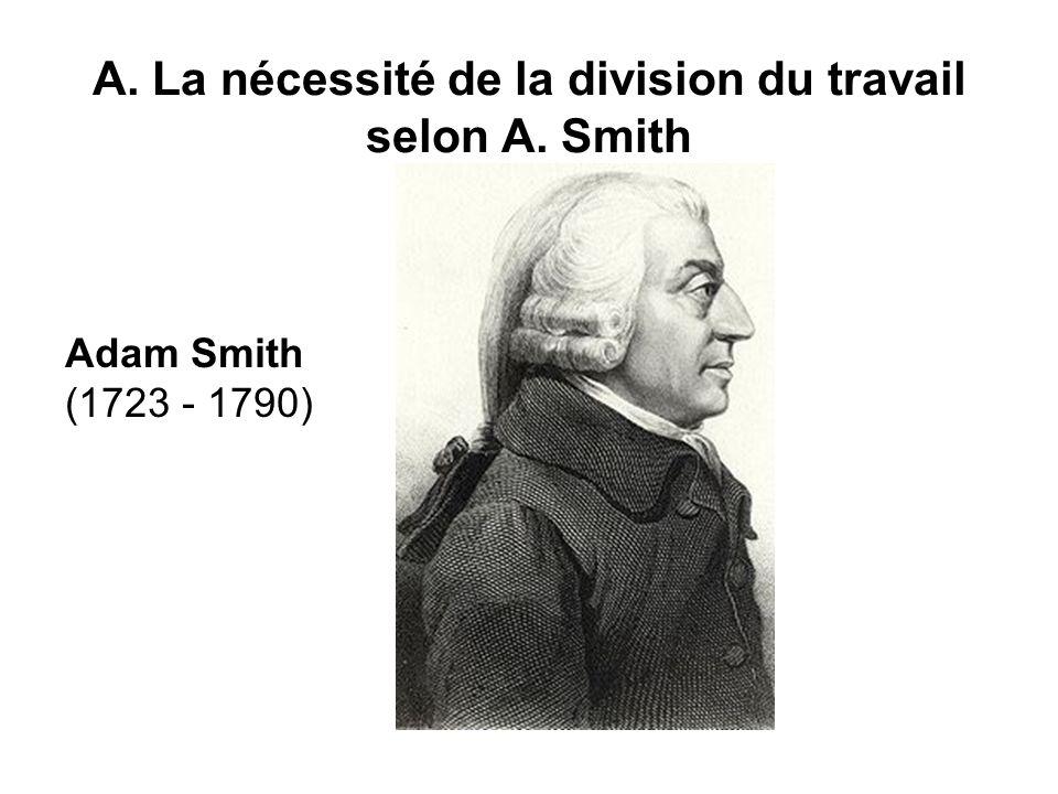 A. La nécessité de la division du travail selon A. Smith