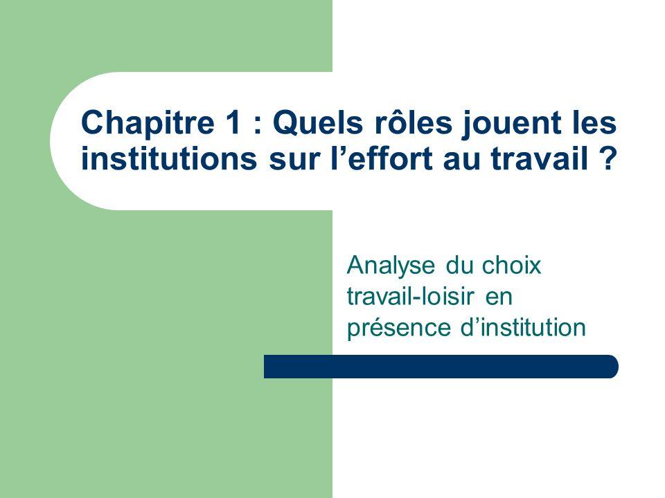 Analyse du choix travail-loisir en présence d'institution