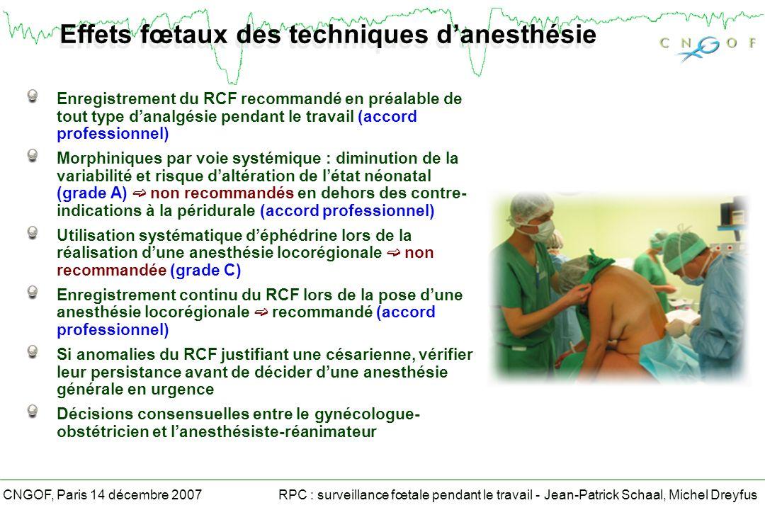 Effets fœtaux des techniques d'anesthésie