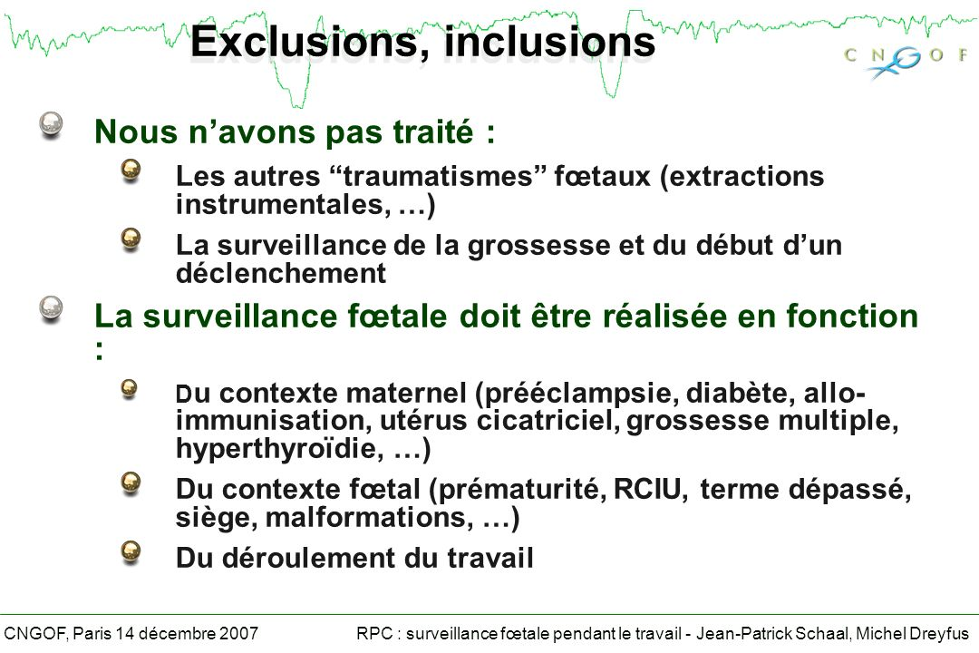 Exclusions, inclusions