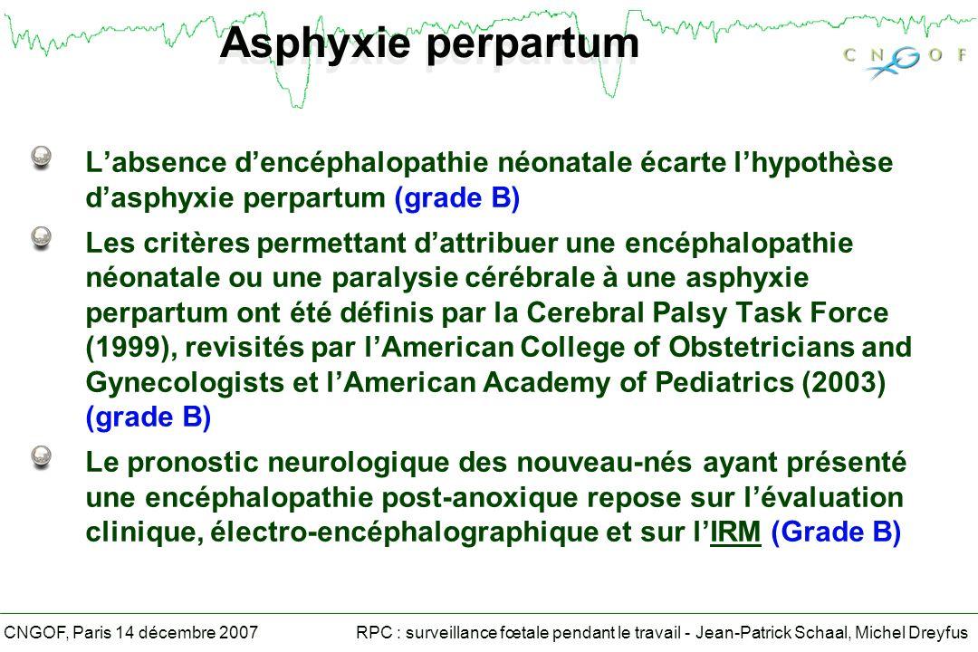 Asphyxie perpartum L'absence d'encéphalopathie néonatale écarte l'hypothèse d'asphyxie perpartum (grade B)