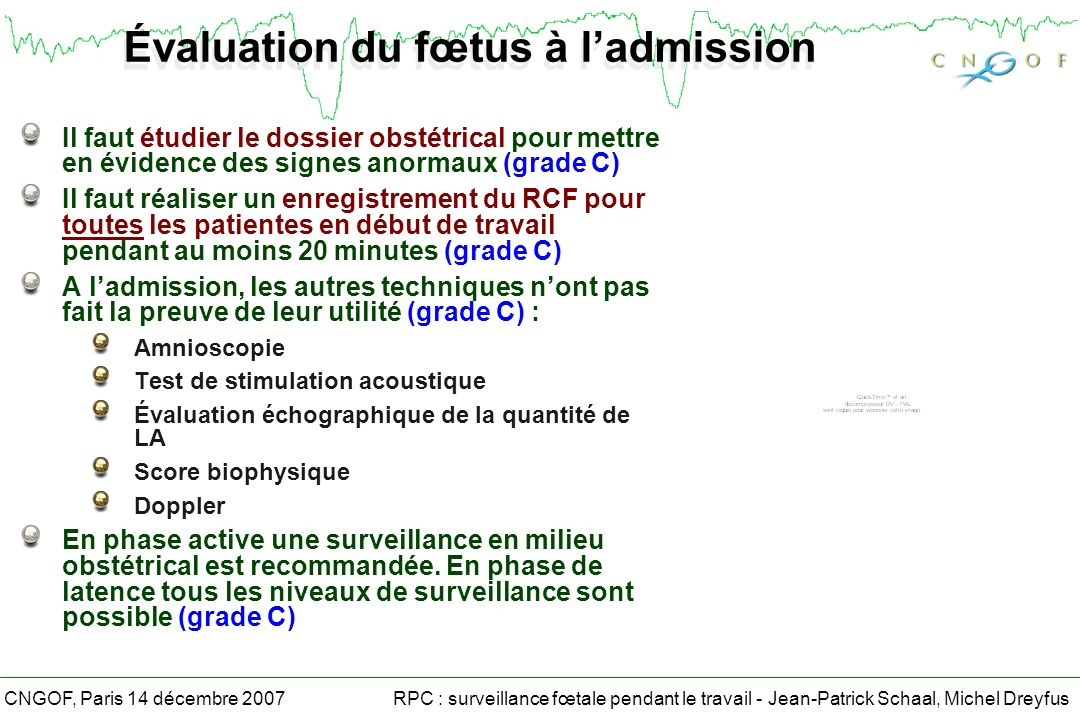 Évaluation du fœtus à l'admission