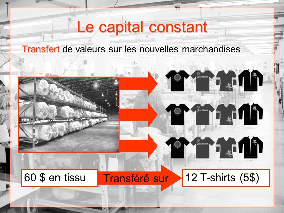 Le capital constant 60 $ en tissu Transféré sur 12 T-shirts (5$)
