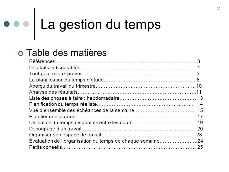 La gestion du temps Table des matières