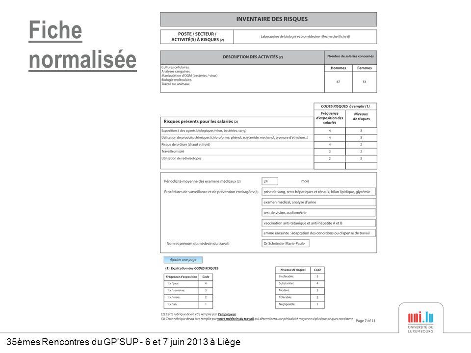 Fiche normalisée 35èmes Rencontres du GP SUP - 6 et 7 juin 2013 à Liège