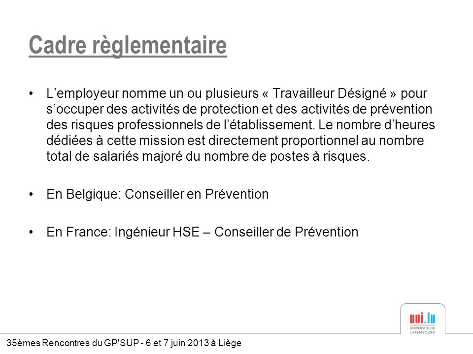 la pr u00e9vention des risques professionnels  u00e0 l u2019universit u00e9 du luxembourg