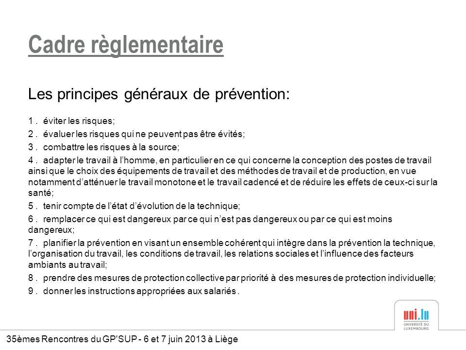 Cadre règlementaire Les principes généraux de prévention: