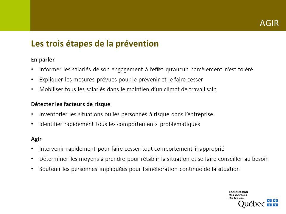 Les trois étapes de la prévention