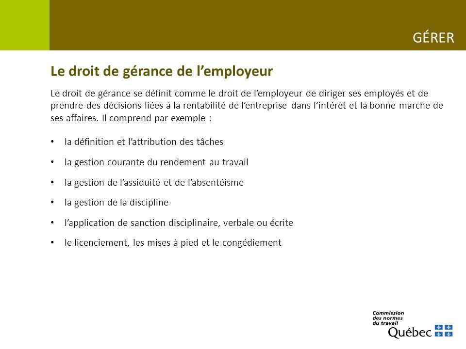 Le droit de gérance de l'employeur