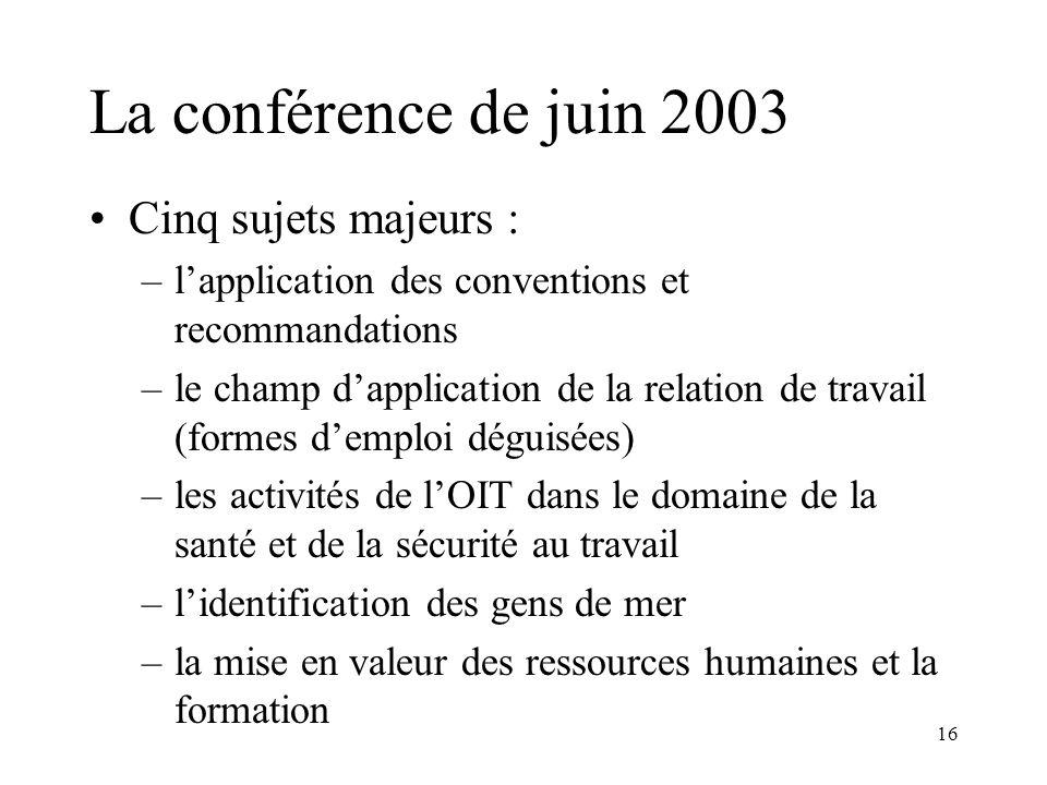 La conférence de juin 2003 Cinq sujets majeurs :