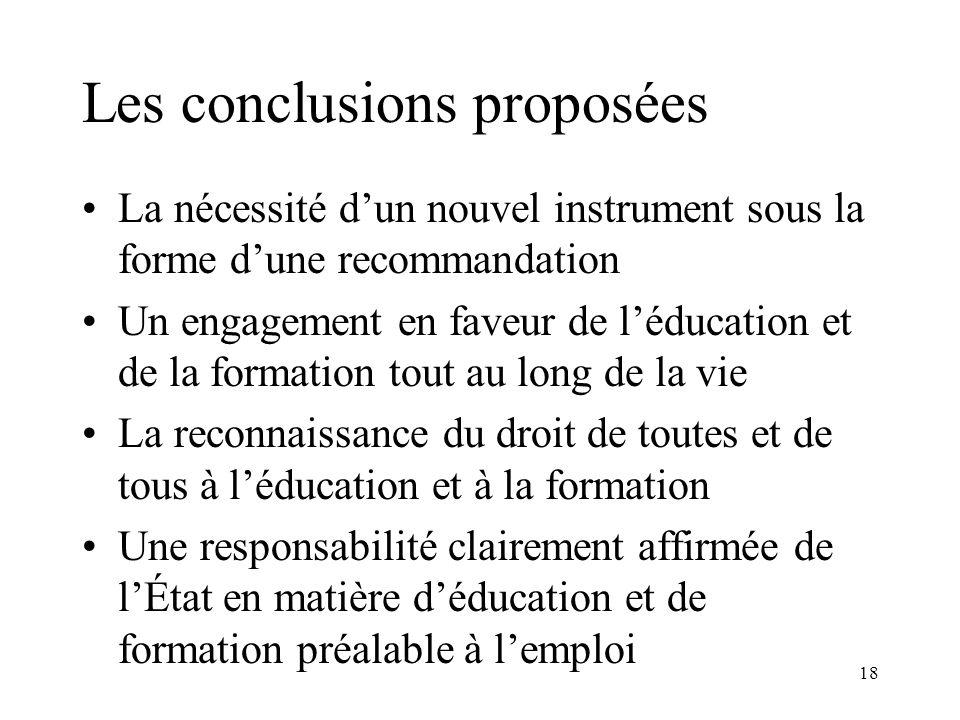 Les conclusions proposées