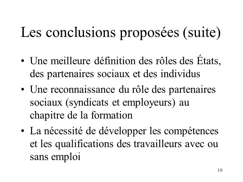 Les conclusions proposées (suite)