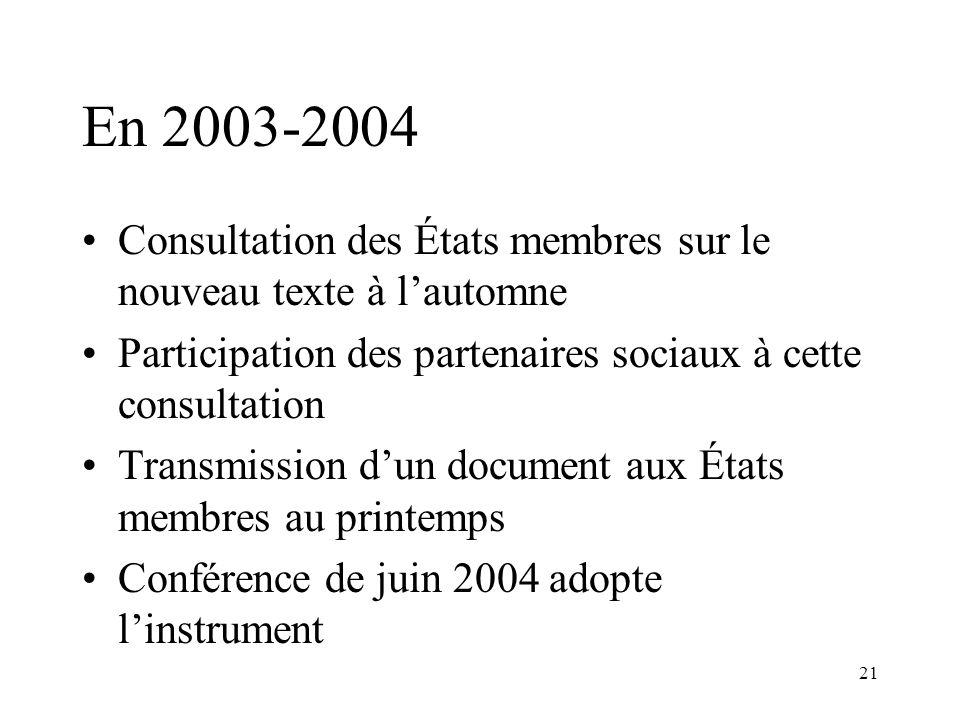 En 2003-2004 Consultation des États membres sur le nouveau texte à l'automne. Participation des partenaires sociaux à cette consultation.