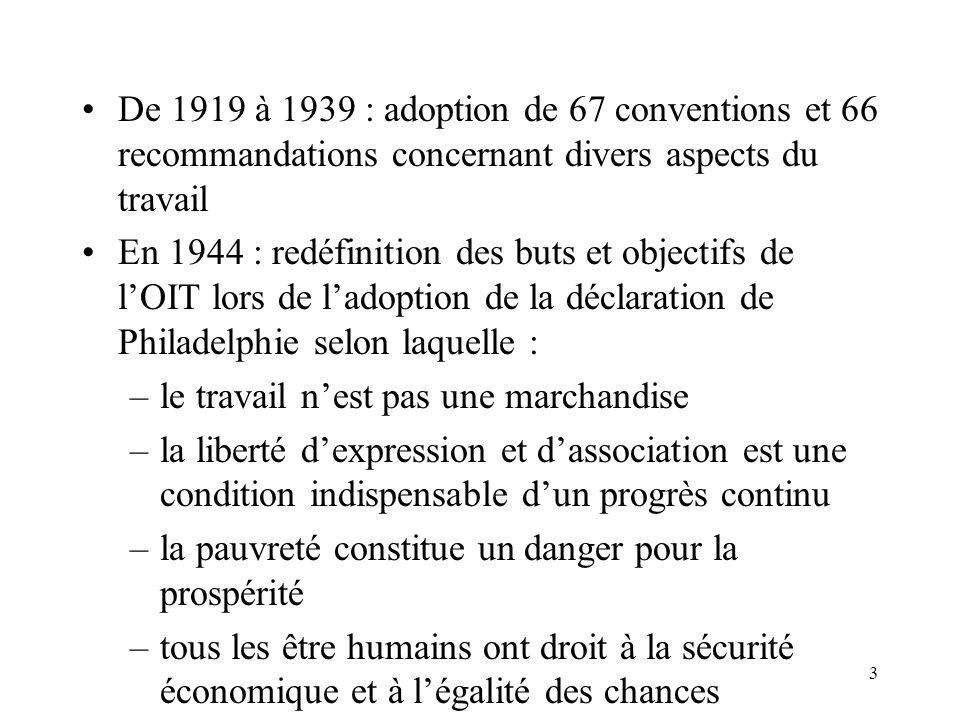 De 1919 à 1939 : adoption de 67 conventions et 66 recommandations concernant divers aspects du travail