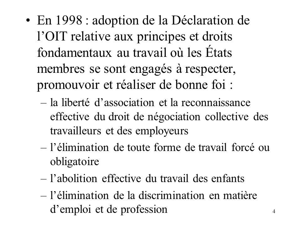 En 1998 : adoption de la Déclaration de l'OIT relative aux principes et droits fondamentaux au travail où les États membres se sont engagés à respecter, promouvoir et réaliser de bonne foi :