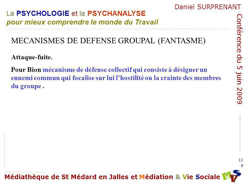 MECANISMES DE DEFENSE GROUPAL (FANTASME)
