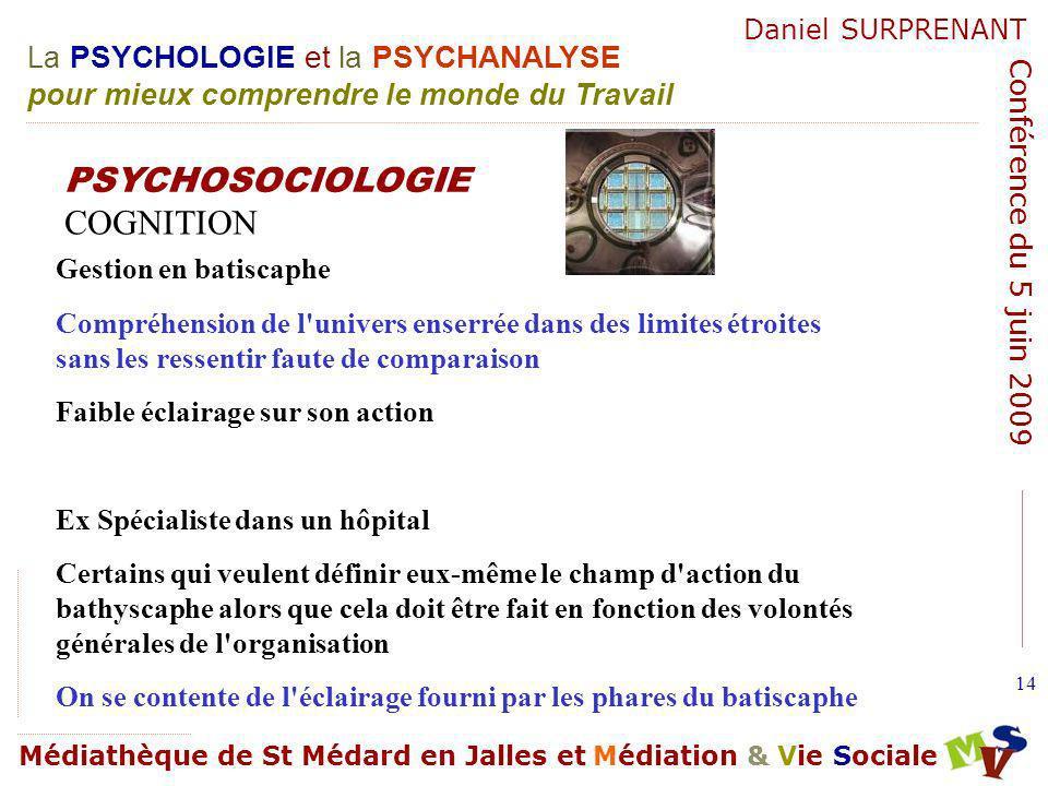PSYCHOSOCIOLOGIE COGNITION Gestion en batiscaphe
