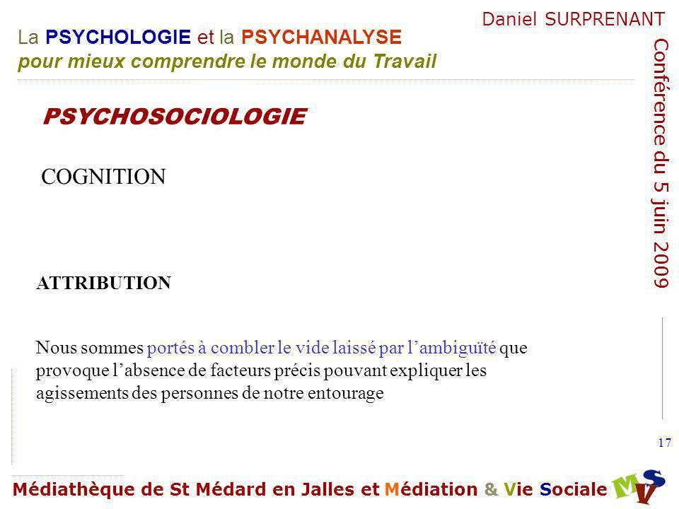 PSYCHOSOCIOLOGIE COGNITION ATTRIBUTION