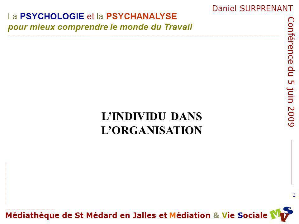 L'INDIVIDU DANS L'ORGANISATION