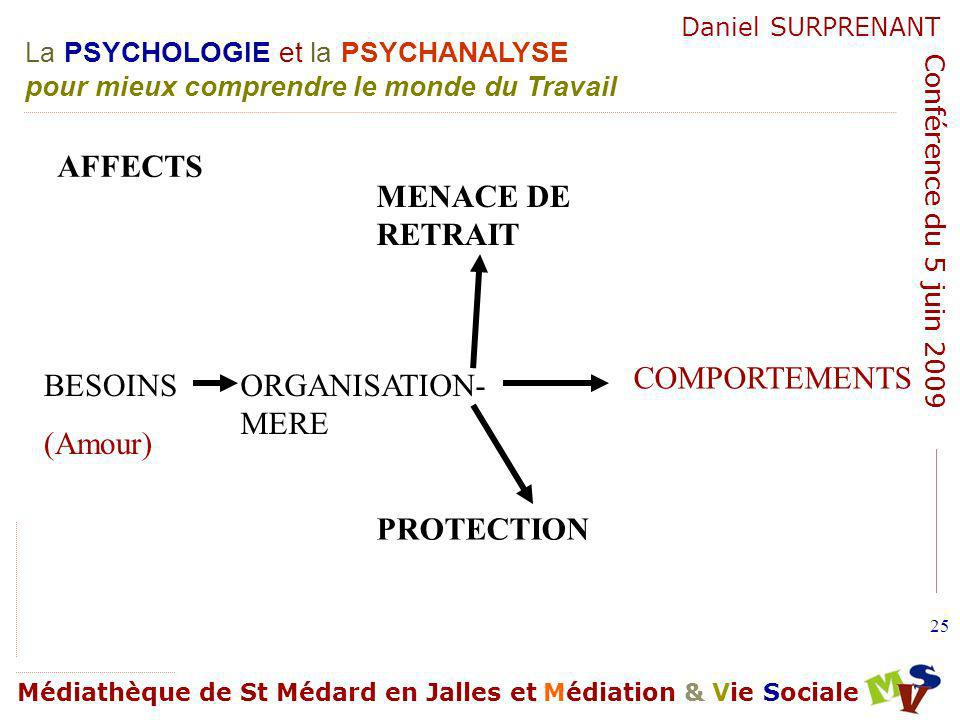 AFFECTS MENACE DE RETRAIT COMPORTEMENTS BESOINS (Amour) ORGANISATION-MERE PROTECTION
