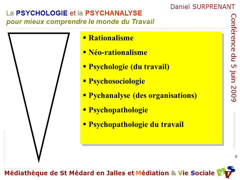 Rationalisme Néo-rationalisme. Psychologie (du travail) Psychosociologie. Pychanalyse (des organisations)