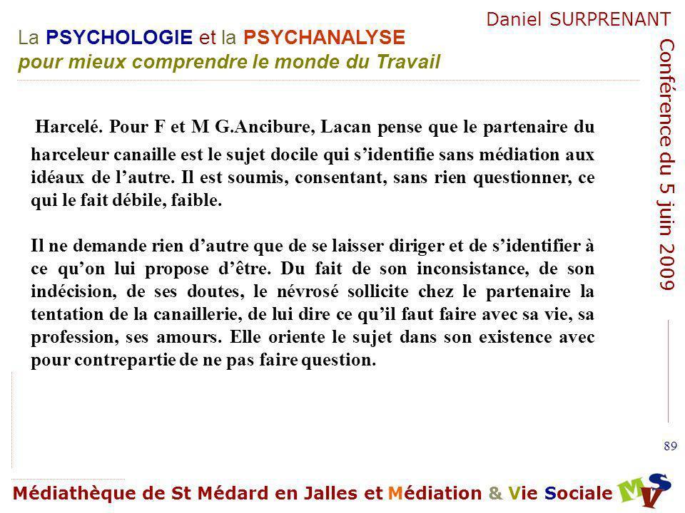 Harcelé. Pour F et M G.Ancibure, Lacan pense que le partenaire du harceleur canaille est le sujet docile qui s'identifie sans médiation aux idéaux de l'autre. Il est soumis, consentant, sans rien questionner, ce qui le fait débile, faible.