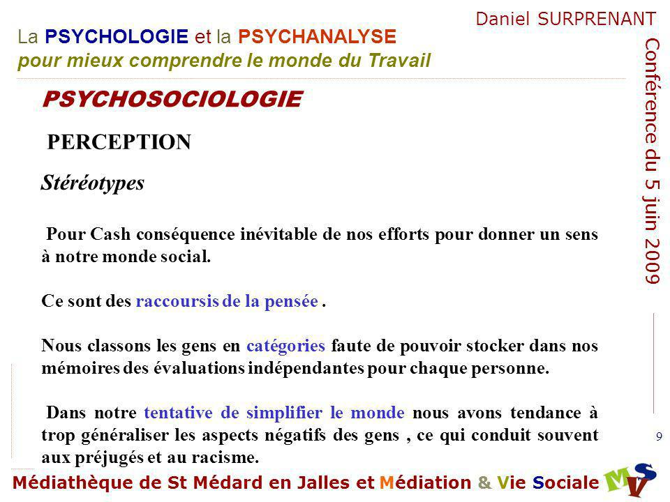 PSYCHOSOCIOLOGIE PERCEPTION Stéréotypes