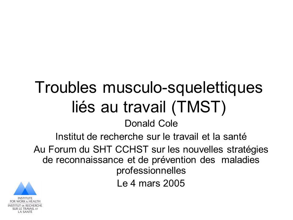 Troubles musculo-squelettiques liés au travail (TMST)