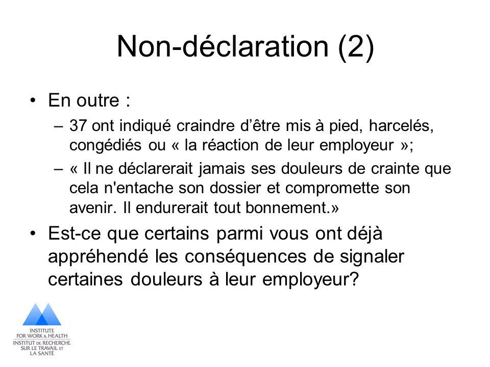 Non-déclaration (2) En outre :