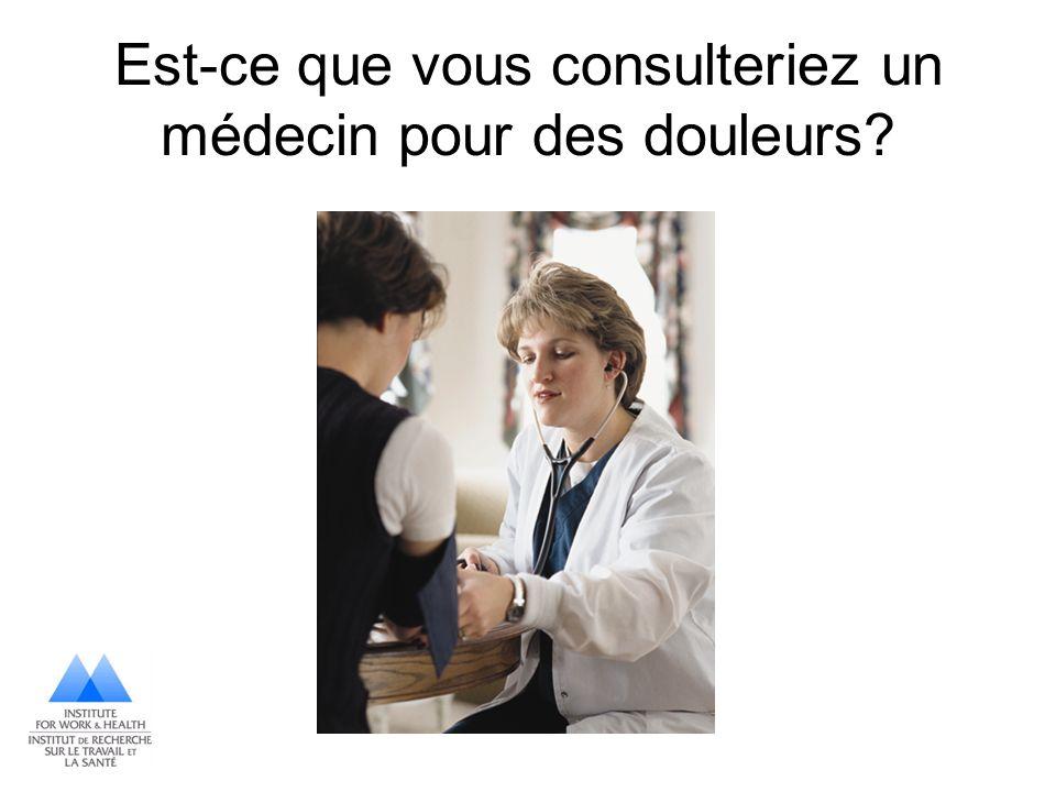Est-ce que vous consulteriez un médecin pour des douleurs
