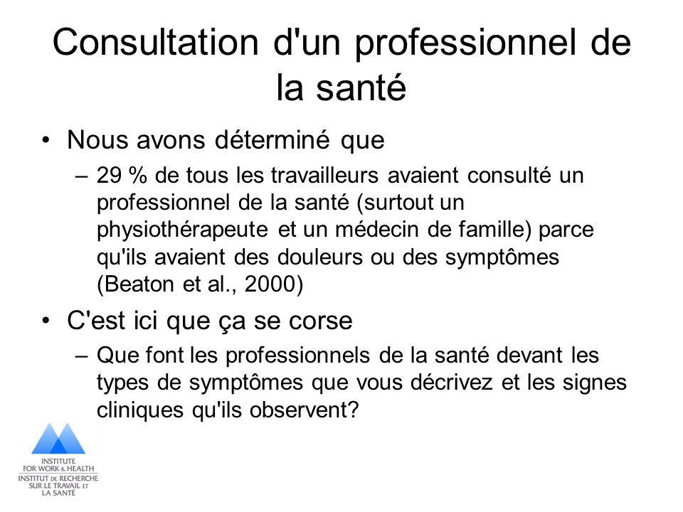 Consultation d un professionnel de la santé