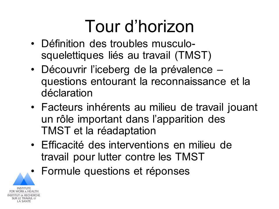 Tour d'horizon Définition des troubles musculo-squelettiques liés au travail (TMST)