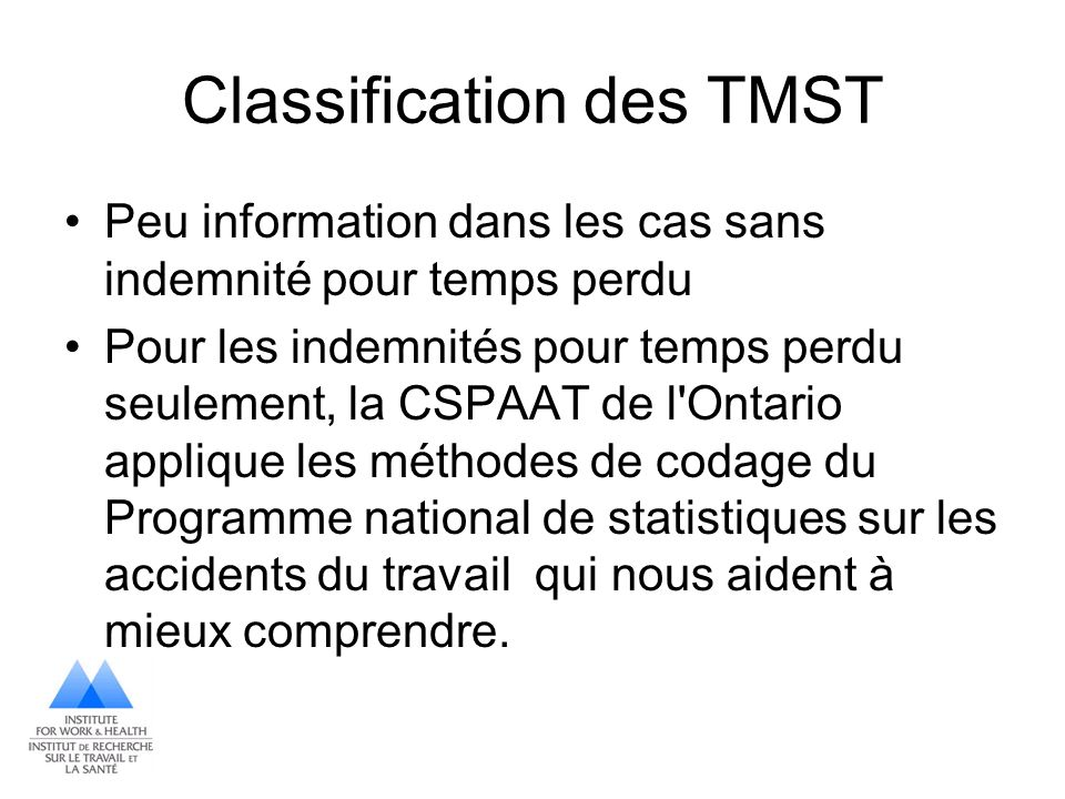 Classification des TMST