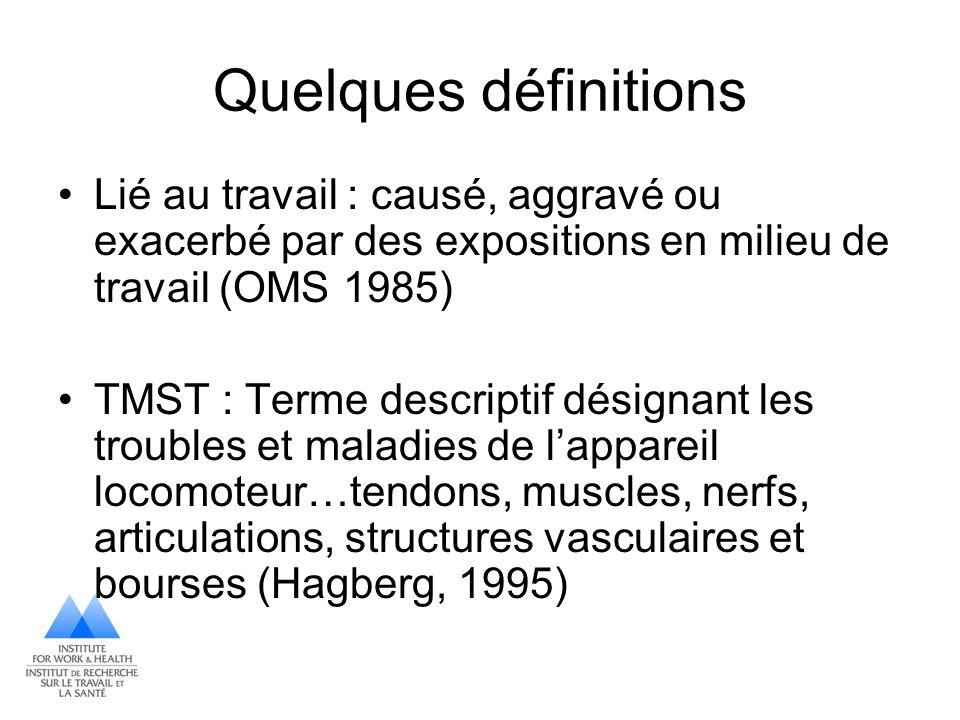 Quelques définitions Lié au travail : causé, aggravé ou exacerbé par des expositions en milieu de travail (OMS 1985)