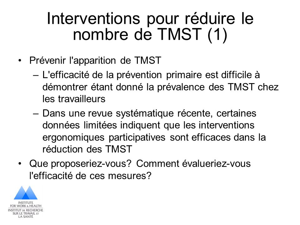 Interventions pour réduire le nombre de TMST (1)