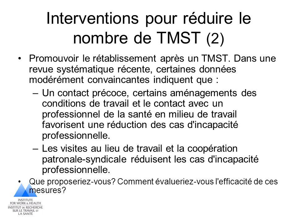 Interventions pour réduire le nombre de TMST (2)
