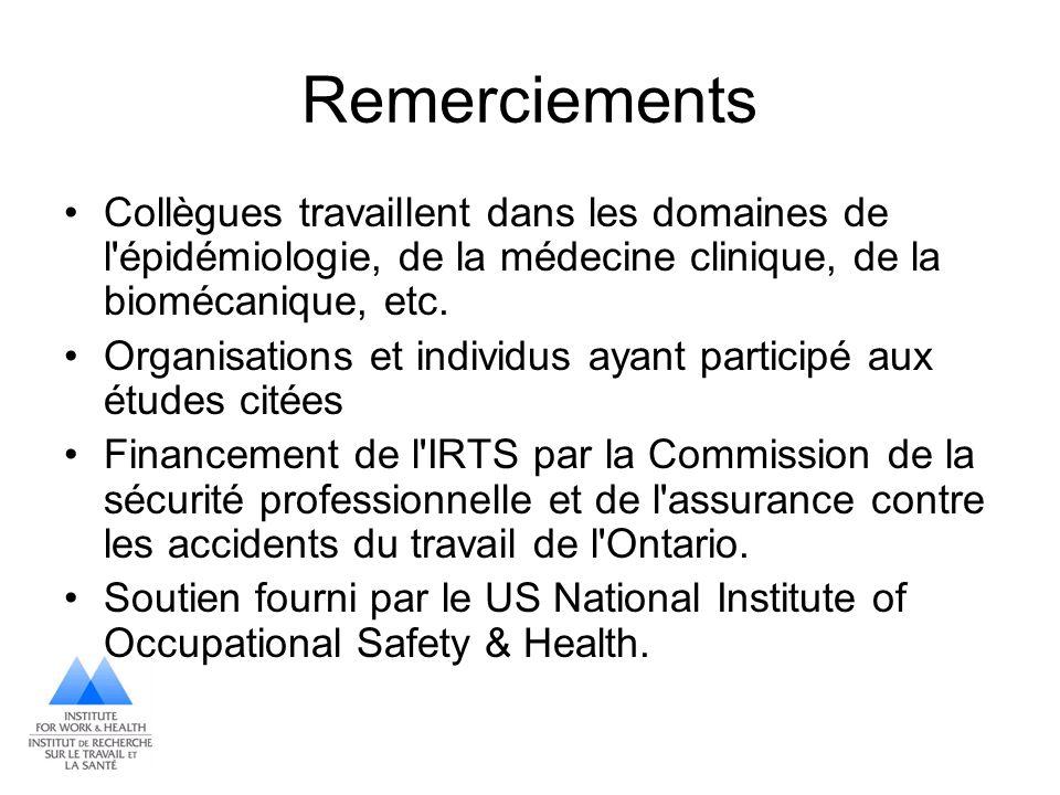 Remerciements Collègues travaillent dans les domaines de l épidémiologie, de la médecine clinique, de la biomécanique, etc.