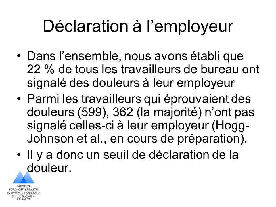 Déclaration à l'employeur