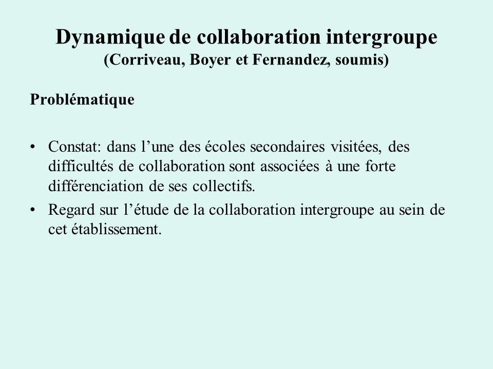 Dynamique de collaboration intergroupe (Corriveau, Boyer et Fernandez, soumis)