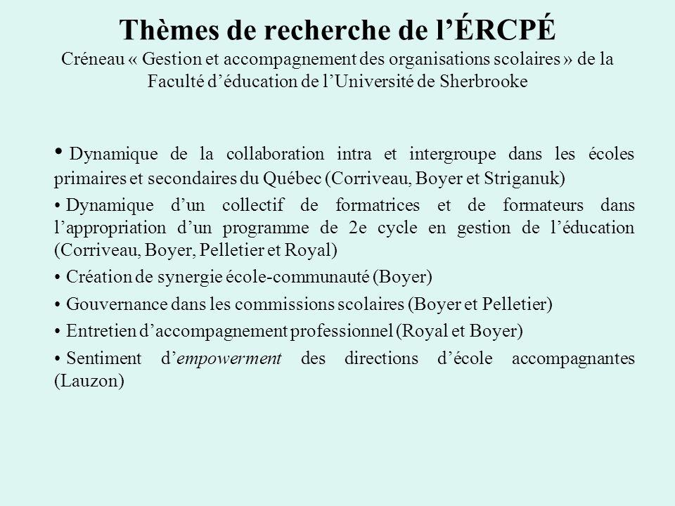 Thèmes de recherche de l'ÉRCPÉ Créneau « Gestion et accompagnement des organisations scolaires » de la Faculté d'éducation de l'Université de Sherbrooke