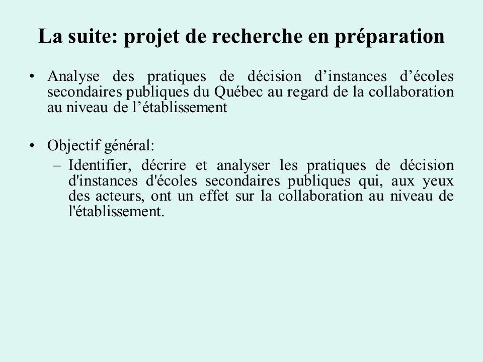 La suite: projet de recherche en préparation